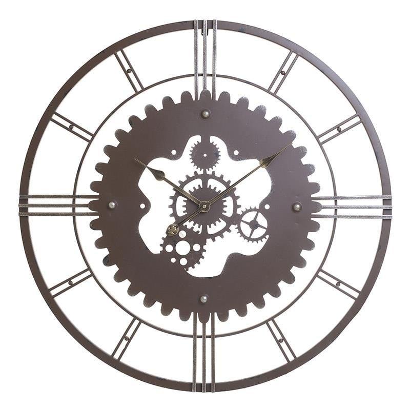 Ρολόι Τοίχου Μεταλλικό Αντικέ inart 57εκ. 3-20-977-0287 (Υλικό: Μεταλλικό, Χρώμα: Καφέ) – inart – 3-20-977-0287