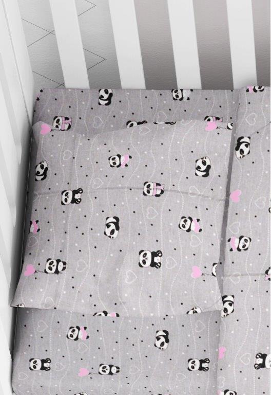 Μαξιλαροθήκη Φάκελος Βαμβακερή Bebe 35×45εκ. Panda 113 Grey-Pink Dimcol (Ύφασμα: Βαμβάκι 100%, Χρώμα: Ροζ) – DimCol – 1915817715811389