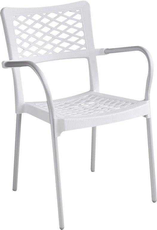 Καρέκλα Εξωτερικού Χώρου Αλουμινίου-Πλαστική 55x48x83εκ. SI040/W (Υλικό: Πλαστικό, Χρώμα: Λευκό) - OEM - 4-ISI040/W