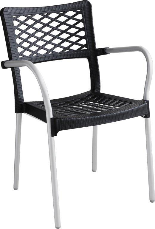 Καρέκλα Εξωτερικού Χώρου Αλουμινίου-Πλαστική 55x48x83εκ. ISI040/1G (Υλικό: Πλαστικό, Χρώμα: Γκρι) – OEM – 4-ISI040/1G
