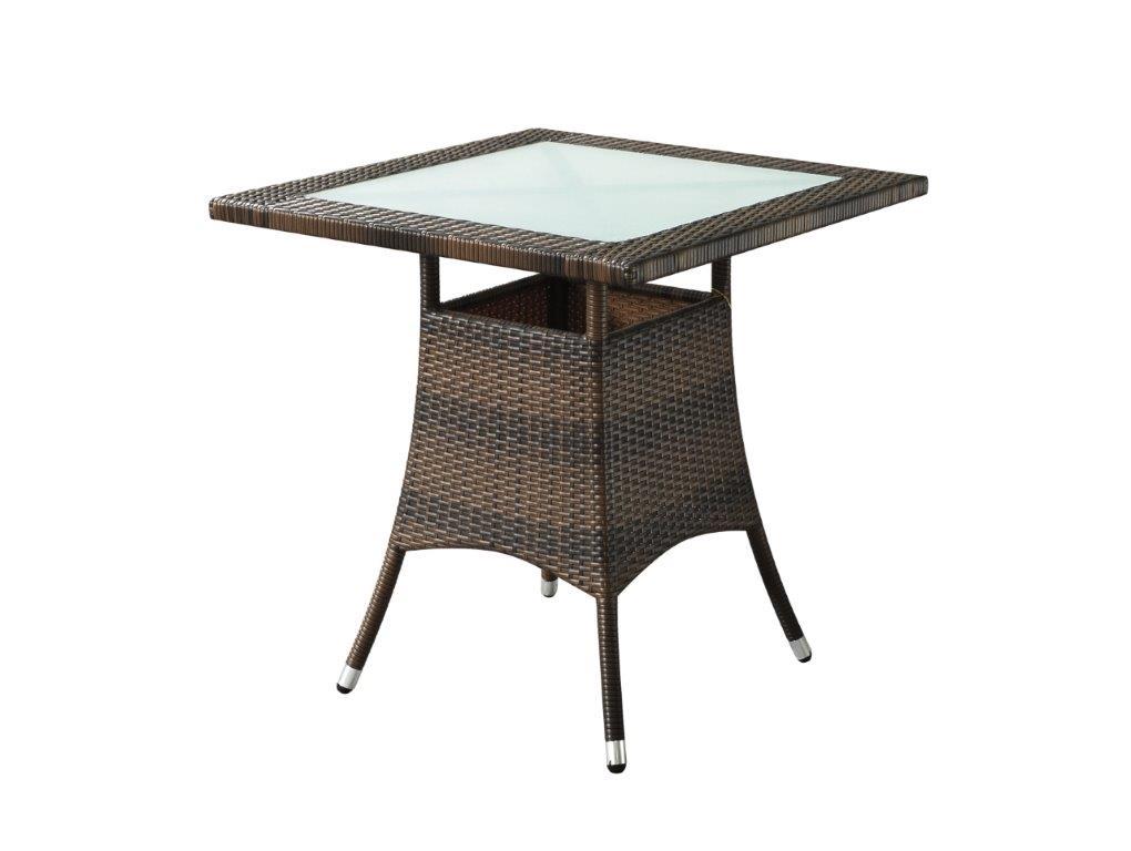 Τραπέζι Εξωτερικού Χώρου Αλουμινίου-Wicker 70x70x73εκ. Με Τζάμι HZ 203/BR (Υλικό: Wicker) – OEM – 4-HZ 203/BR