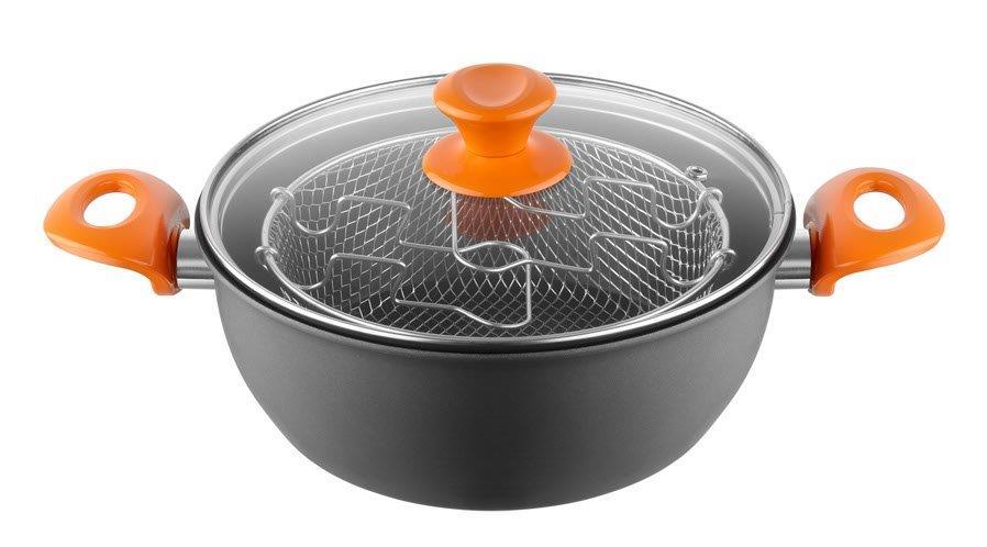 Φριτέζα Αλουμινίου Αντικολλητική 24×10εκ. Orange PAL 050.000280 (Υλικό: Γυαλί, Χρώμα: Πορτοκαλί) – PAL – 050.000280