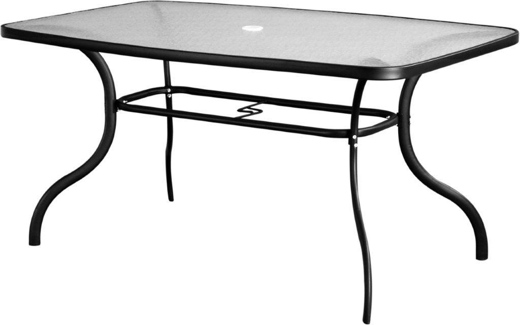 Τραπέζι Εξωτερικού Χώρου Μεταλλικό 150x70x92εκ. Με Τζάμι TRA46/150R (Υλικό: Μεταλλικό, Χρώμα: Μαύρο) – OEM – 4-TRA46/150R