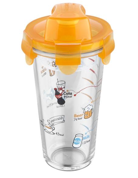 Σέικερ Γυάλινο 500ml PC318 Glasslock PAL 050.000162-Orange (Υλικό: Γυαλί, Χρώμα: Πορτοκαλί) – PAL – 050.000162-orange
