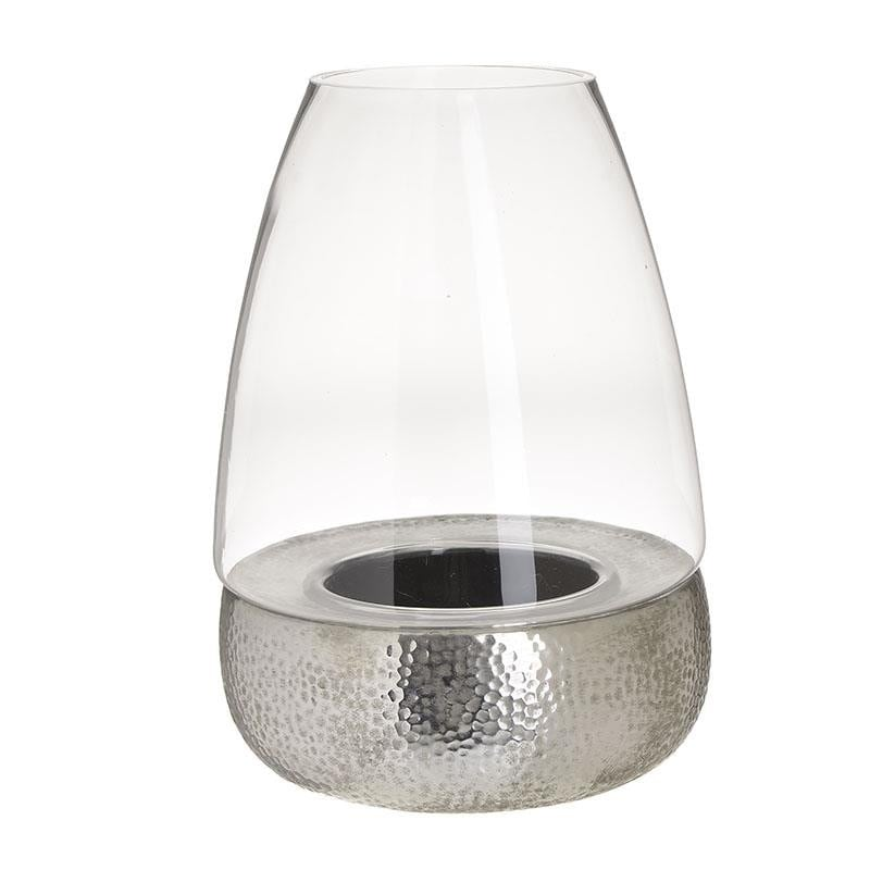 Κηροπήγιο Γυάλινο-Κεραμικό inart 23×30εκ. 3-70-507-0272 (Υλικό: Γυαλί, Χρώμα: Ασημί ) – inart – 3-70-507-0272