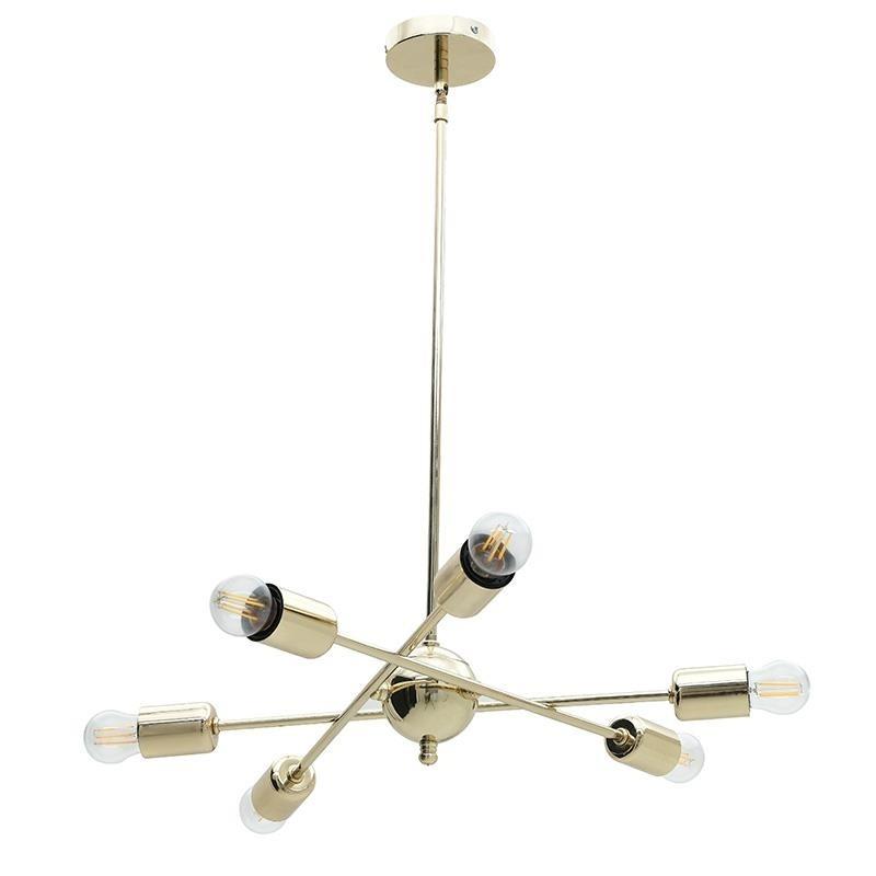 Φωτιστικό Οροφής 6Φωτο Μεταλλικό inart 50×70εκ. 3-10-584-0001 (Υλικό: Μεταλλικό, Χρώμα: Χρυσό ) – inart – 3-10-584-0001