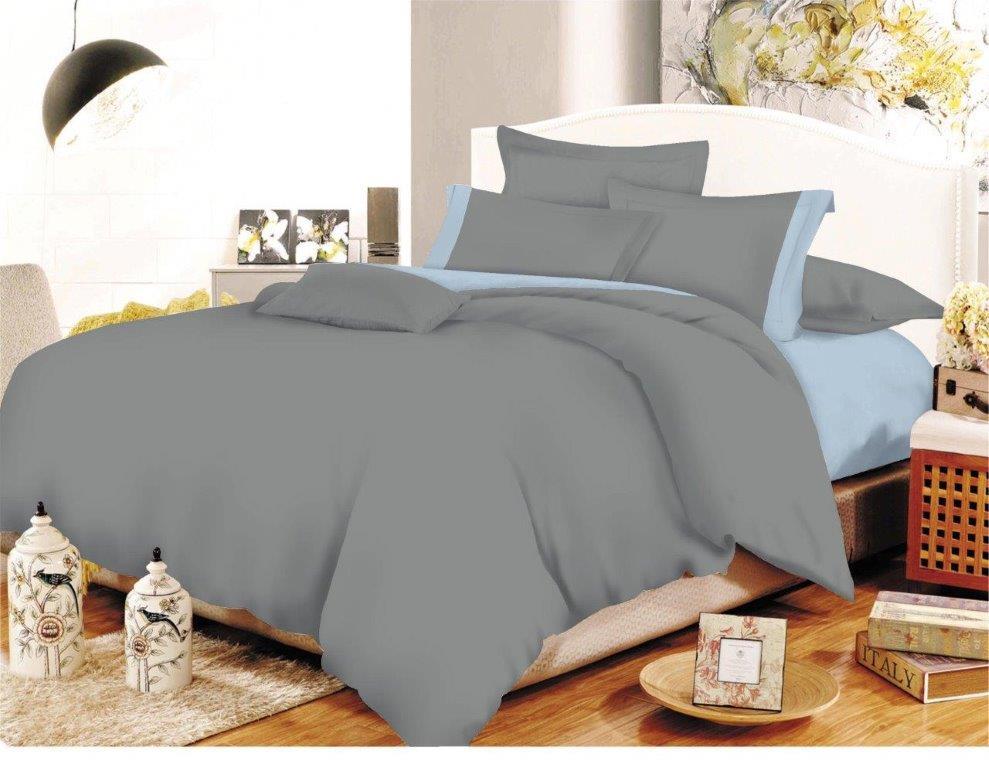 Σετ Σεντόνια Polycotton Μονά 160×240εκ. Με Φάσα Grey-Baby Blue Με Λάστιχο (Ύφασμα: 50%Cotton-50%Polyester, Χρώμα: Γκρι) – KOMVOS HOME – 7000009-25F