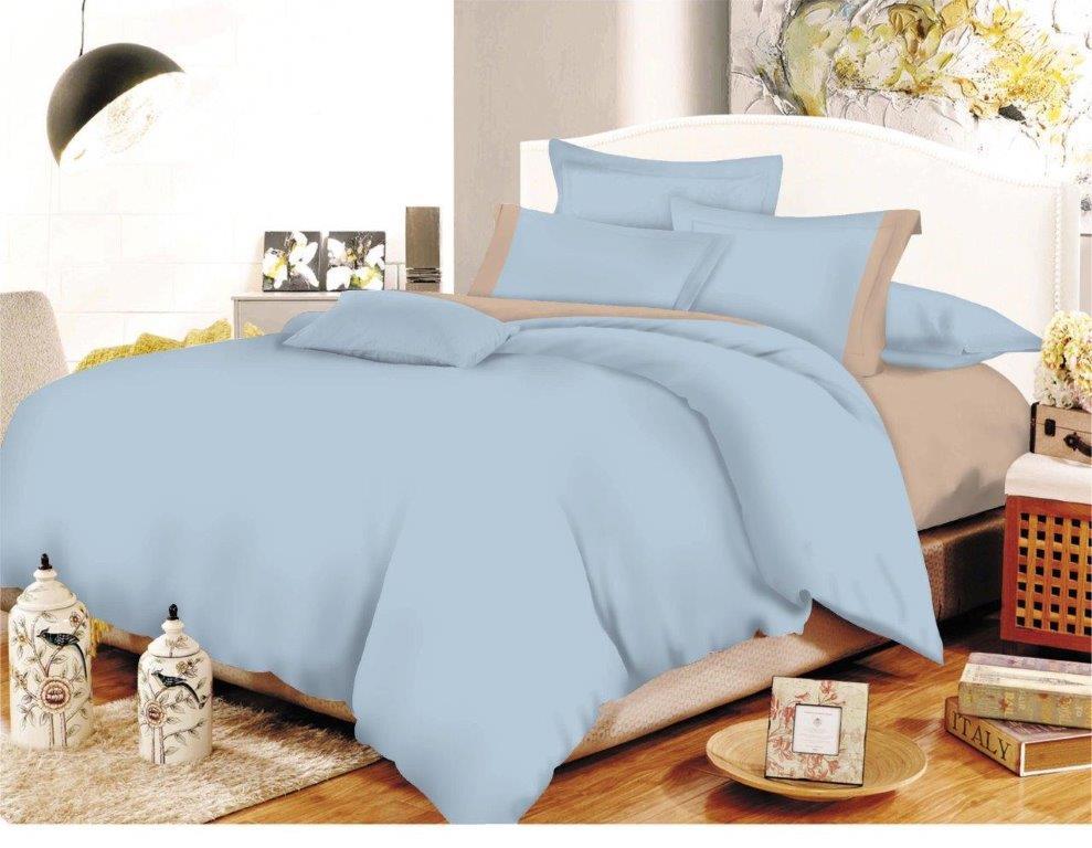 Σετ Σεντόνια Polycotton Μονά 160×240εκ. Με Φάσα Baby Blue-Beige Με Λάστιχο (Ύφασμα: 50%Cotton-50%Polyester, Χρώμα: Γαλάζιο ) – KOMVOS HOME – 7000009-28F