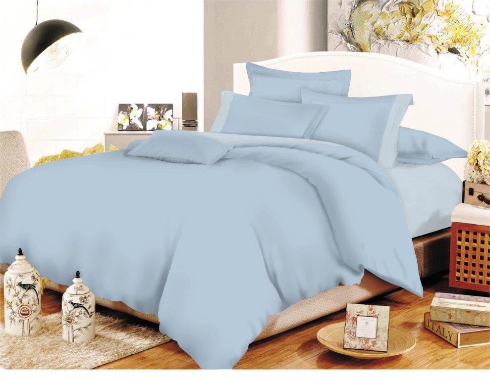 Σετ Σεντόνια Polycotton Διπλά 200x240εκ. Με Φάσα Lavender-Baby Blue (Ύφασμα: 50%Cotton-50%Polyester, Χρώμα: Γαλάζιο ) - KOMVOS HOME - 7001105-22