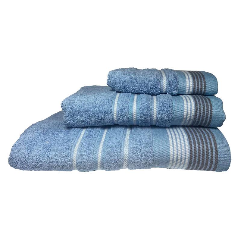 Σετ πετσέτες 3τμχ Βαμβακερές Bella Blue 24home (Ύφασμα: Βαμβάκι 100%, Χρώμα: Μπλε) – 24home.gr – 24-bella-blue