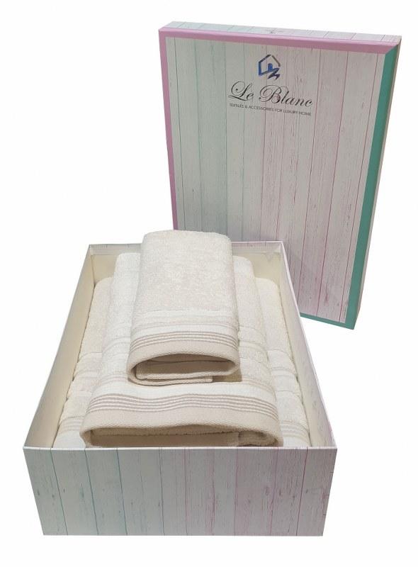 Σετ Πετσέτες 3τμχ Βαμβακερές Σε Κουτί Le Blanc Satin Stripe Sand (Ύφασμα: Βαμβάκι 100%, Χρώμα: Κρεμ) – Le Blanc – 7005936-1