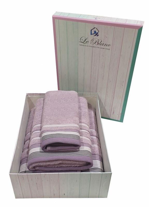 Σετ Πετσέτες 3τμχ Βαμβακερές Σε Κουτί Le Blanc Satin Stripe Lilac (Ύφασμα: Βαμβάκι 100%, Χρώμα: Λιλά) – Le Blanc – 7005936-2