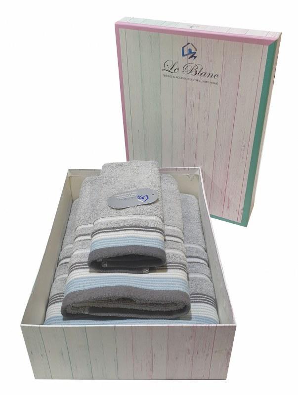 Σετ Πετσέτες 3τμχ Βαμβακερές Σε Κουτί Le Blanc Satin Stripe Grey (Ύφασμα: Βαμβάκι 100%, Χρώμα: Γκρι) – Le Blanc – 7005936-4
