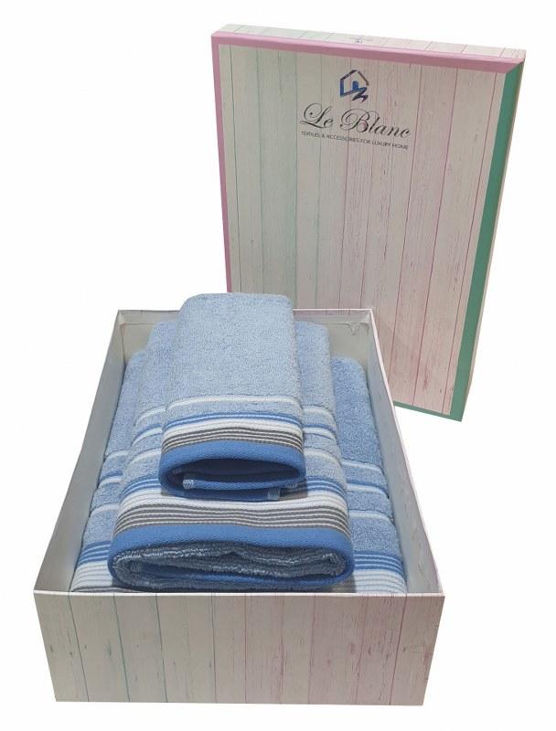 Σετ Πετσέτες 3τμχ Βαμβακερές Σε Κουτί Le Blanc Satin Stripe Light Blue (Ύφασμα: Βαμβάκι 100%, Χρώμα: Γαλάζιο ) – Le Blanc – 7005936-5