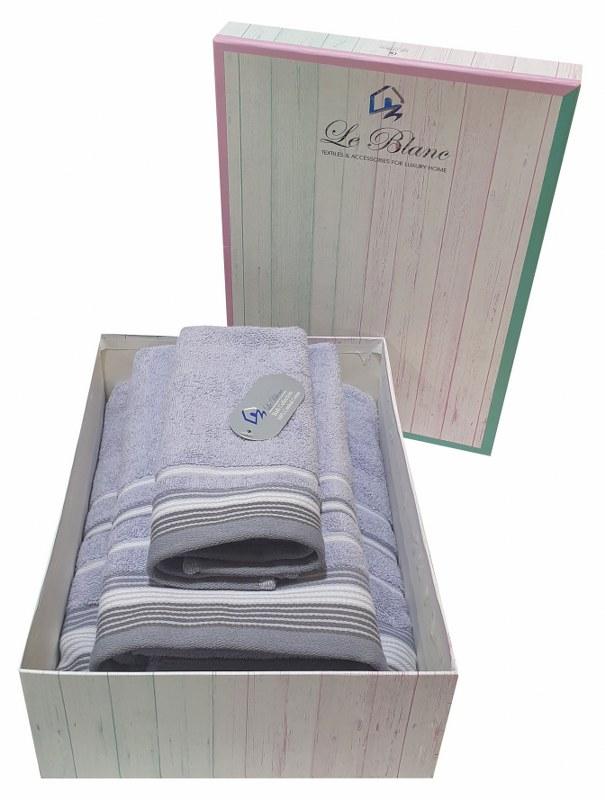 Σετ Πετσέτες 3τμχ Βαμβακερές Σε Κουτί Le Blanc Satin Stripe Levanda (Ύφασμα: Βαμβάκι 100%, Χρώμα: Μωβ) – Le Blanc – 7005936-6