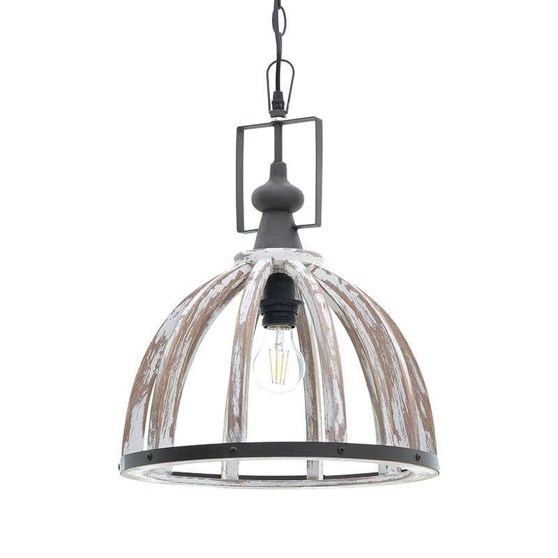 Φωτιστικό Οροφής Μεταλλικό-Ξύλινο Αντικέ inart 35x45/90εκ. 3-10-876-0091 (Υλικό: Ξύλο, Χρώμα: Αντικέ) - inart - 3-10-876-0091