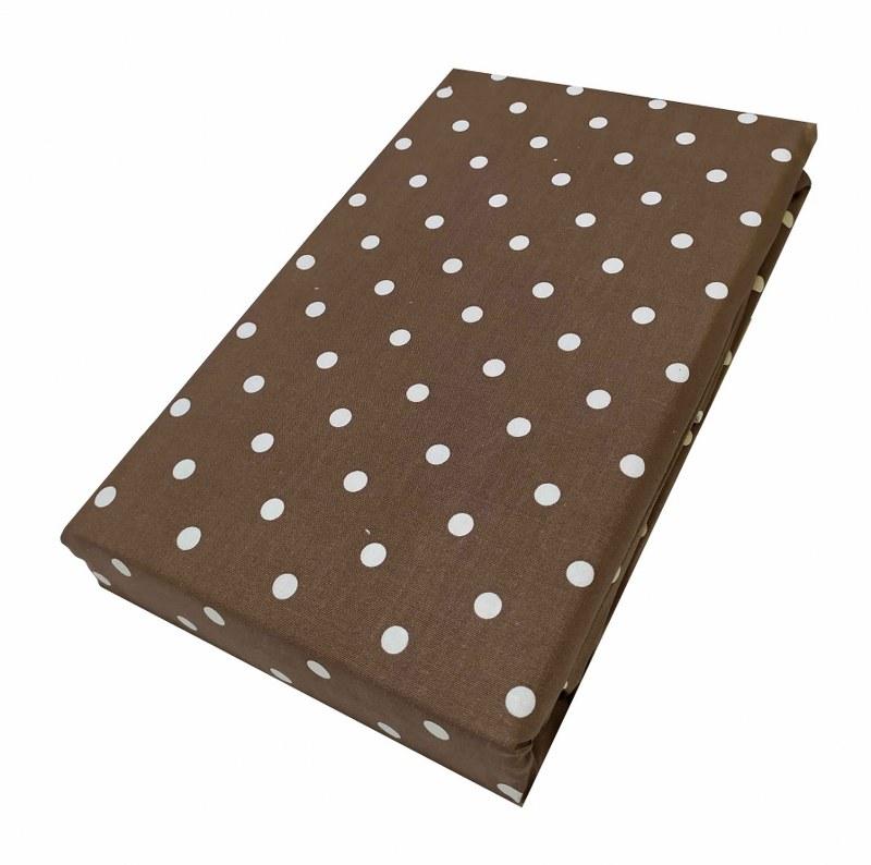 Σεντόνι Μεμονωμένο Polycotton Μονό Με Λάστιχο 100×200+20εκ. Πουά Brown (Ύφασμα: 50%Cotton-50%Polyester, Χρώμα: Καφέ) – KOMVOS HOME – 7002171-37F