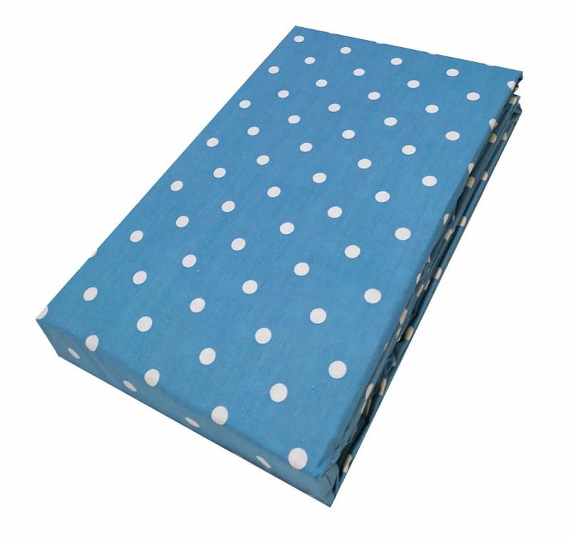 Σεντόνι Μεμονωμένο Polycotton Υπέρδιπλο 220×240εκ. Πουά Light Blue (Ύφασμα: 50%Cotton-50%Polyester, Χρώμα: Γαλάζιο ) – KOMVOS HOME – 7002201-14