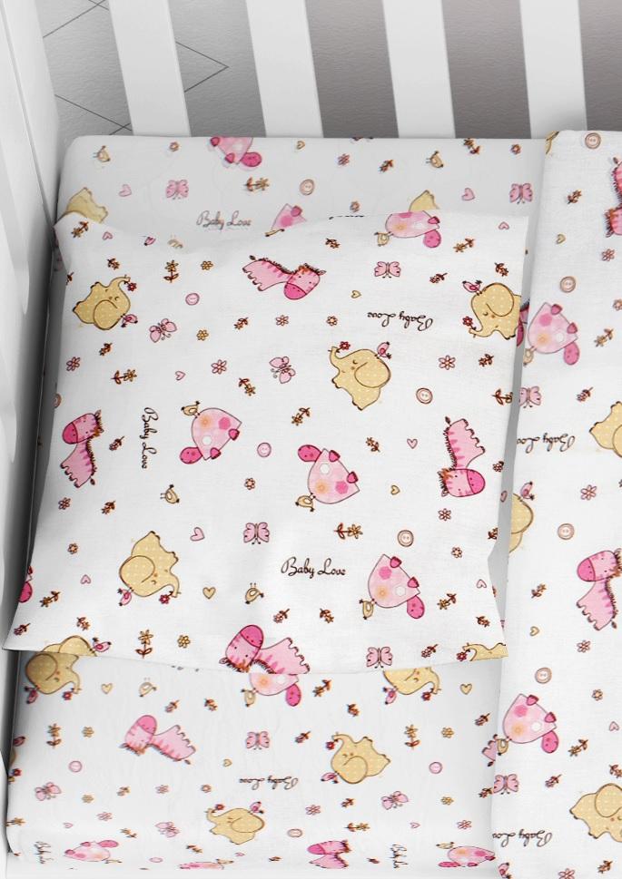 Μαξιλαροθήκη Φάκελος Βαμβακερή Bebe 35×45εκ. Elephant 172 Pink Dimcol (Ύφασμα: Βαμβάκι 100%, Χρώμα: Λευκό) – DimCol – 1915817707117279