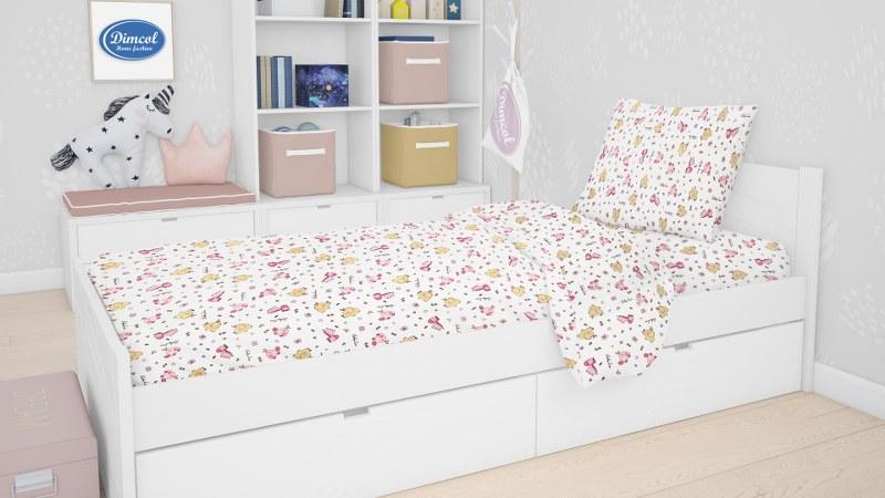 Σετ Σεντόνια 2τμχ Βαμβακερά Μονά 160x240εκ. Elephant 172 Pink Dimcol (Ύφασμα: Βαμβάκι 100%, Χρώμα: Λευκό) - DimCol - 1925215207117279