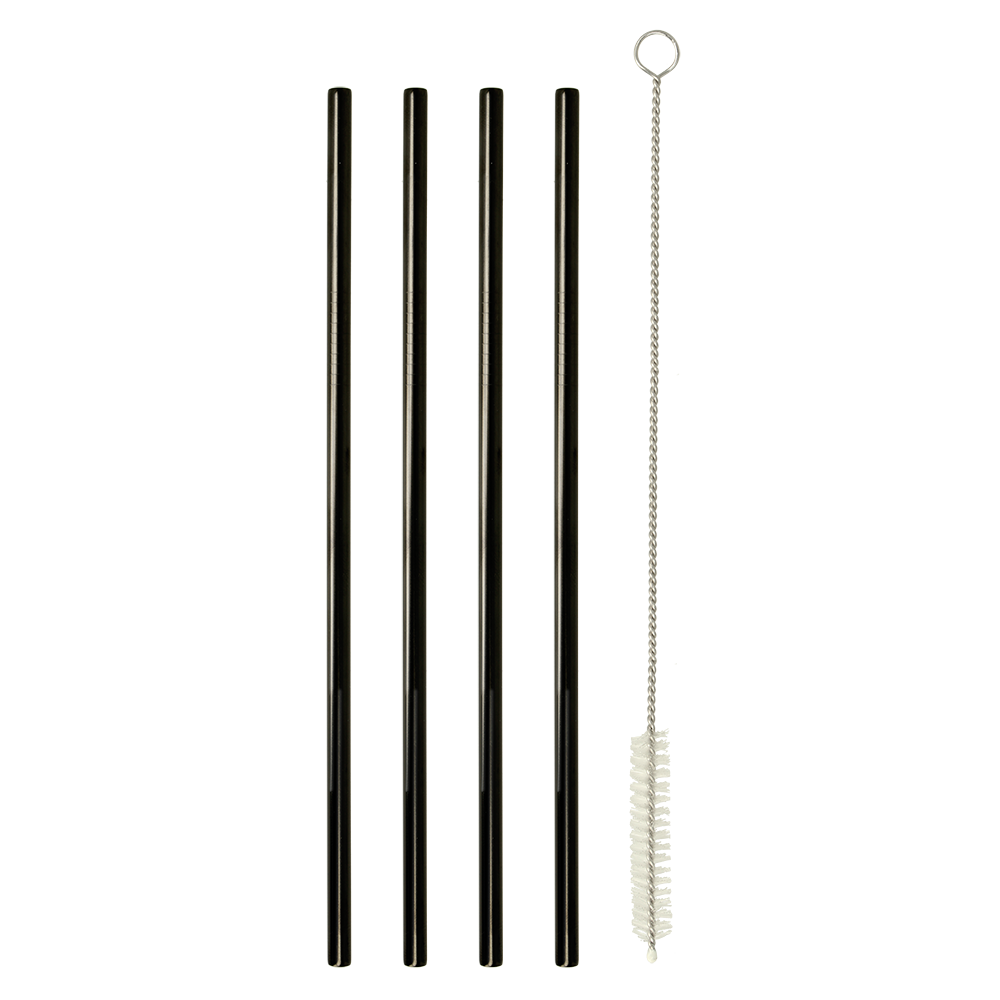 Σετ 4τμχ Καλαμάκια Ανοξείδωτα Ίσια 21,5εκ. Με Βουρτσάκι Καθαρισμού Metaltex 253183 (Υλικό: Ανοξείδωτο, Χρώμα: Μαύρο) – METALTEX – 253183