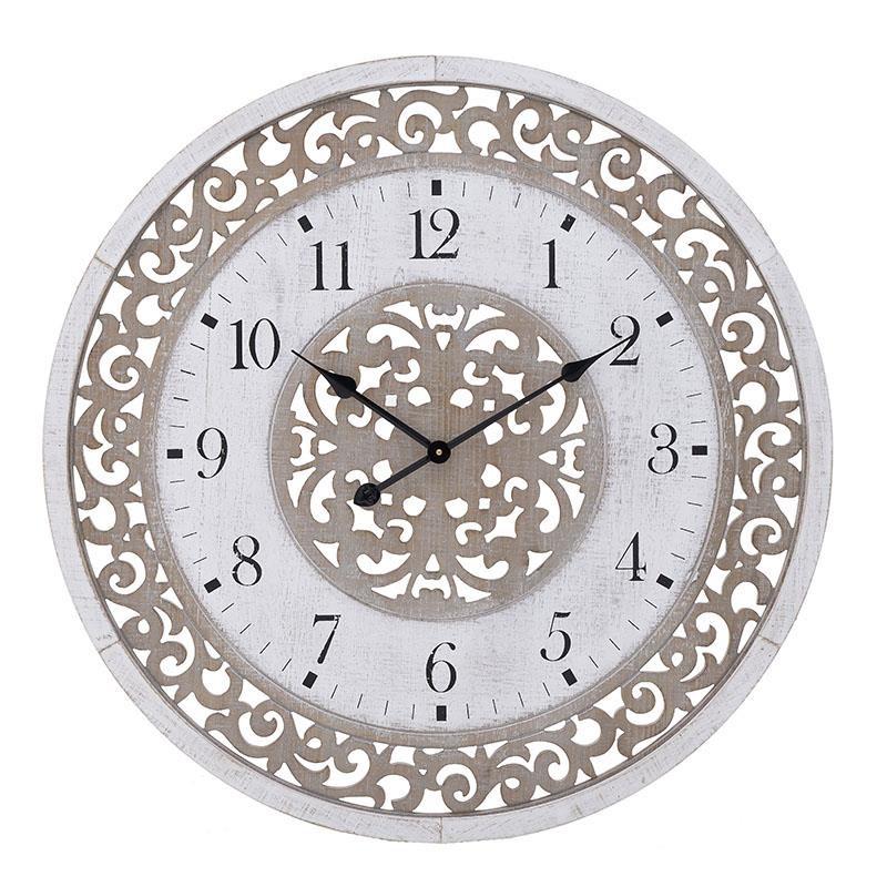 Ρολόι Τοίχου Ξύλινο inart 80x5x80εκ. 3-20-484-0455 (Υλικό: Ξύλο) - inart - 3-20-484-0455