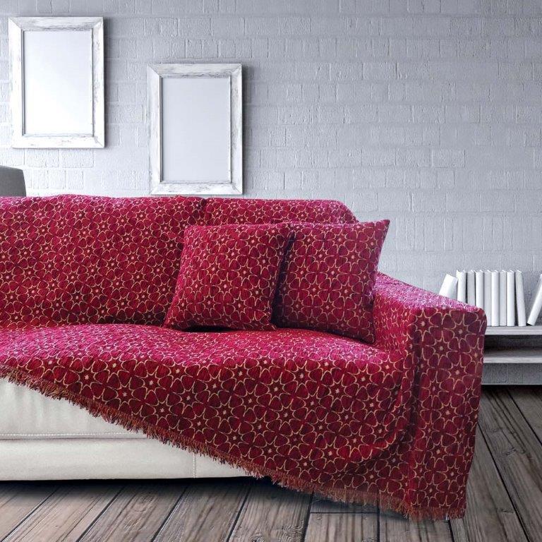Ριχτάρι Σενίλ Ζακάρ Διθέσιου Καναπέ 180×240εκ. Nancy Bordeaux Sb home (Ύφασμα: Chenille, Χρώμα: Μπορντώ ) – Sb home – 5206864057753