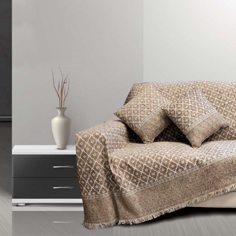 Ριχτάρι Σενίλ Ζακάρ Τριθέσιου Καναπέ 180×300εκ. Toulouse Beige Sb home (Ύφασμα: Chenille, Χρώμα: Μπεζ) – Sb home – 5206864057807