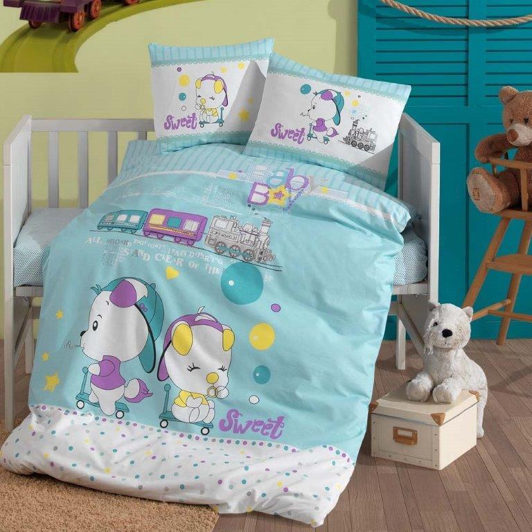 Σετ Σεντόνια Βαμβακερά Κούνιας 110×150εκ. Baby Boy Sb home (Ύφασμα: Βαμβάκι 100%, Χρώμα: Μπλε) – Sb home – 5206864058378
