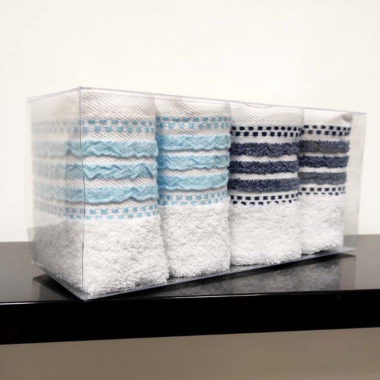 Σετ Πετσέτες 4τμχ Σε Κουτί Βαμβακερές 30×50εκ. Romina Sb home (Ύφασμα: Βαμβάκι 100%, Χρώμα: Λευκό) – Sb home – 5206864058538