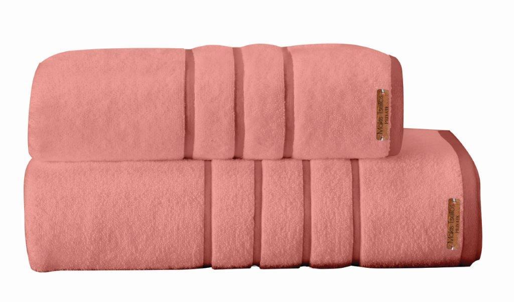 Σετ Πετσέτες 2τμχ Βαμβακερές Prive Powder Pink Makis Tselios (Ύφασμα: Βαμβάκι 100%, Χρώμα: Ροζ) – Makis Tselios – 283280123456