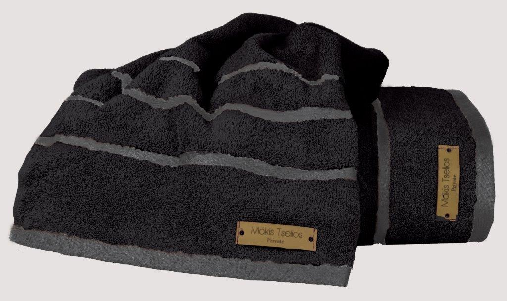 Πετσέτα Μεμονωμένη Βαμβακερή 50×90εκ. Prive Black Makis Tselios (Ύφασμα: Βαμβάκι 100%, Χρώμα: Μαύρο) – Makis Tselios – 290500123456