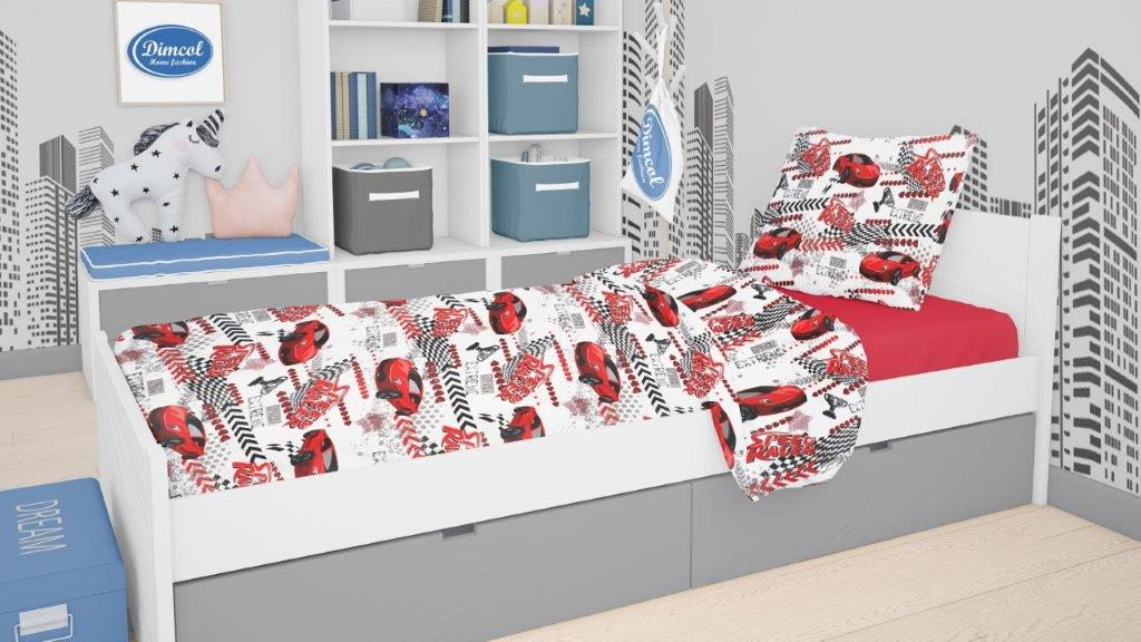 Πάπλωμα Polycotton Μονό 160×240εκ. Speed Racer 290 Red Dimcol (Χρώμα: Κόκκινο, Ύφασμα: 70% Βαμβάκι-30% Polyester) – DimCol – 1925985225029035