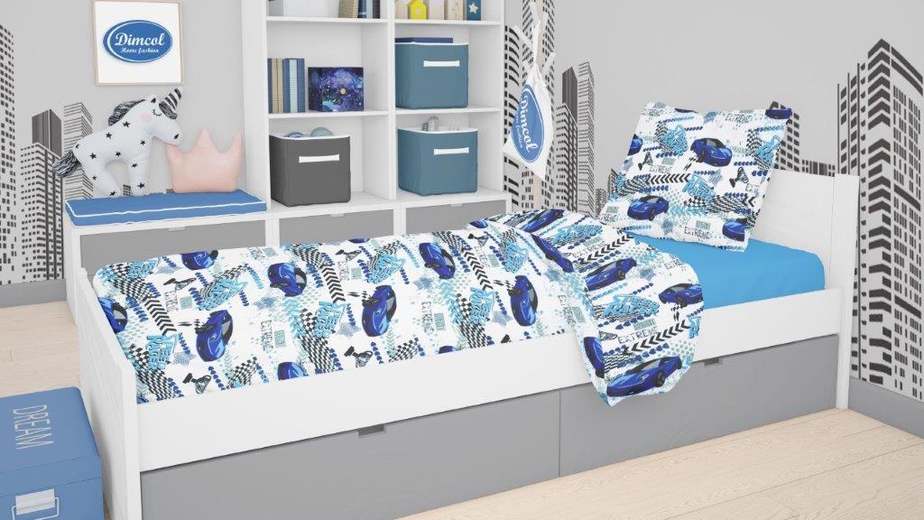 Πάπλωμα Polycotton Μονό 160×240εκ. Speed Racer 291 Blue Dimcol (Χρώμα: Μπλε, Ύφασμα: 70% Βαμβάκι-30% Polyester) – DimCol – 1925985225029170