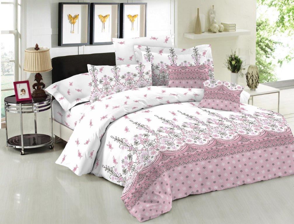 Σετ Σεντόνια Polycotton Διπλά Με Λάστιχο 150x200+20εκ. Island Pink (Ύφασμα: 50%Cotton-50%Polyester) - KOMVOS HOME - 7004540-36F