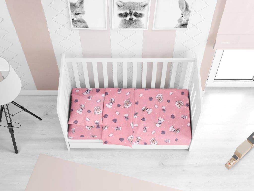 Σεντόνι Φανελένιο Με Λάστιχο Κούνιας 70×140+15εκ. Προβατάκι 05 Pink Dimcol (Ύφασμα: Φανέλα, Χρώμα: Ροζ) – DimCol – 1916158406600579
