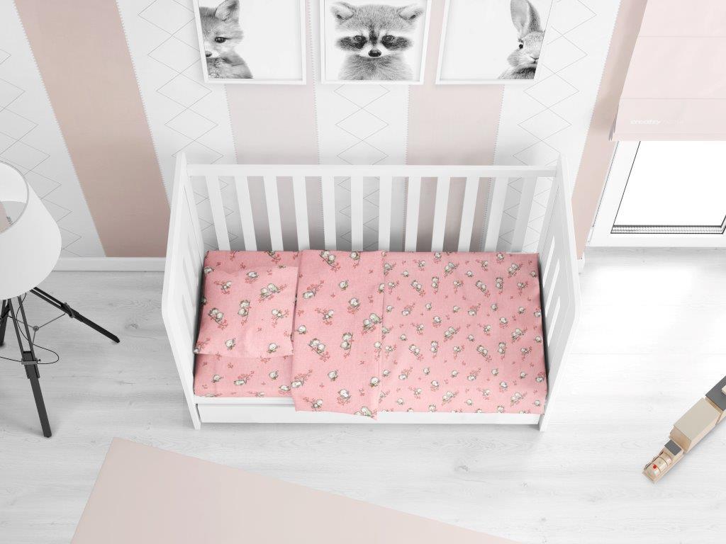 Σεντόνι Φανελένιο Με Λάστιχο Κούνιας 70×140+15εκ. Birds 15 Pink Dimcol (Ύφασμα: Φανέλα, Χρώμα: Ροζ) – DimCol – 1916158408601579