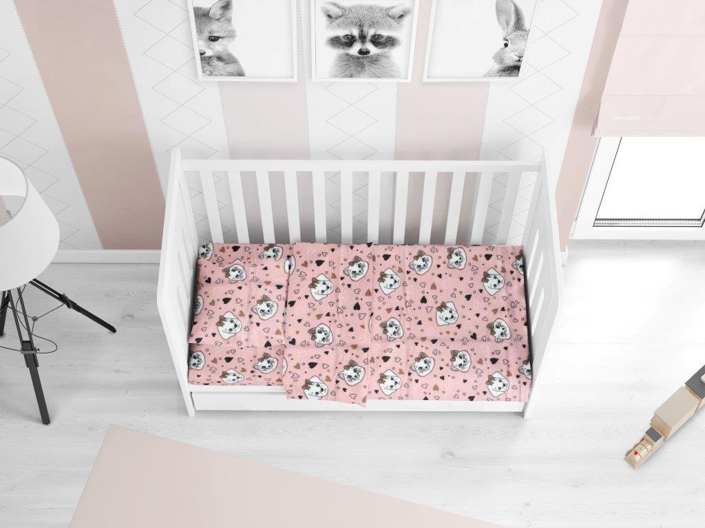 Σεντόνι Φανελένιο Με Λάστιχο Κούνιας 70×140+15εκ. Puppy-Kitten 18 Pink Dimcol (Ύφασμα: Φανέλα, Χρώμα: Ροζ) – DimCol – 1916158409601879