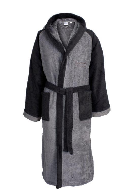 Μπουρνούζι Με Κουκούλα Βαμβακερό Medium 4020 Grey-Black Dimcol (Ύφασμα: Βαμβάκι 100%, Χρώμα: Μαύρο) – DimCol – 1330911804840234