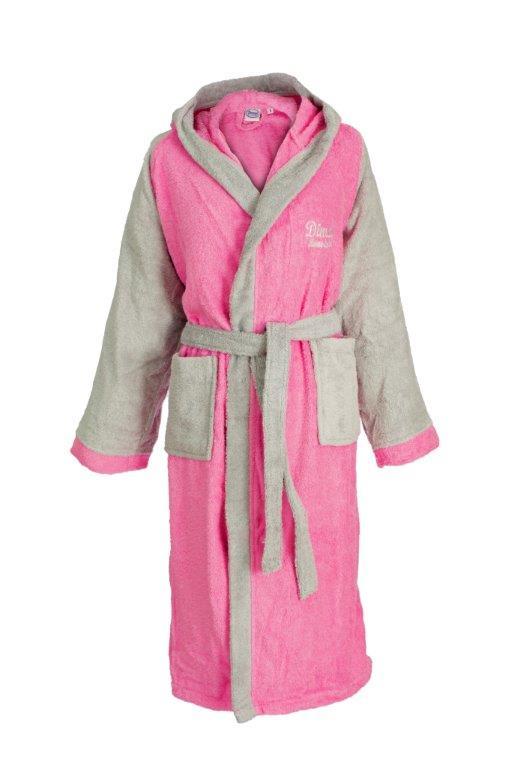 Μπουρνούζι Με Κουκούλα Βαμβακερό Large 4020 Pink-Grey Dimcol (Ύφασμα: Βαμβάκι 100%, Χρώμα: Ροζ) – DimCol – 1330911904840242