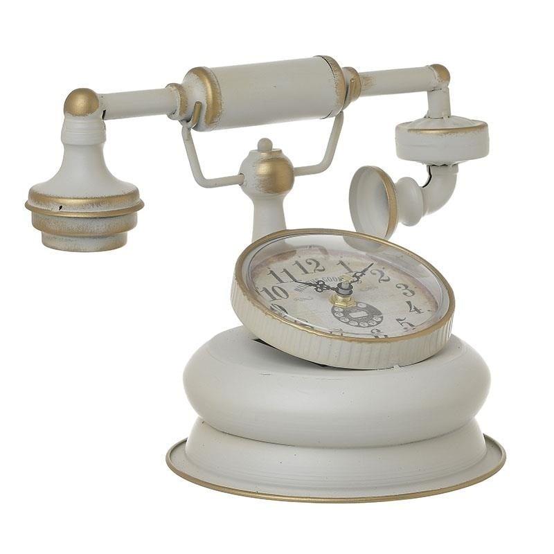 Ρολόι Επιτραπέζιο Μεταλλικό Αντικέ inart 21x16x21εκ. 3-20-977-0295 (Υλικό: Μεταλλικό, Χρώμα: Εκρού ) – inart – 3-20-977-0295