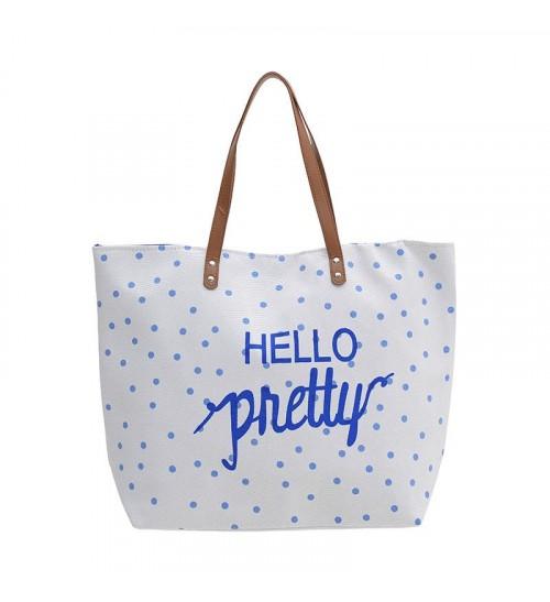 """Τσάντα Θαλάσσης Υφασμάτινη """"Ηello Pretty"""" ble 54x13x40εκ. 5-42-051-0006 - ble -  καλοκαιρινα τσάντες θαλάσσης"""