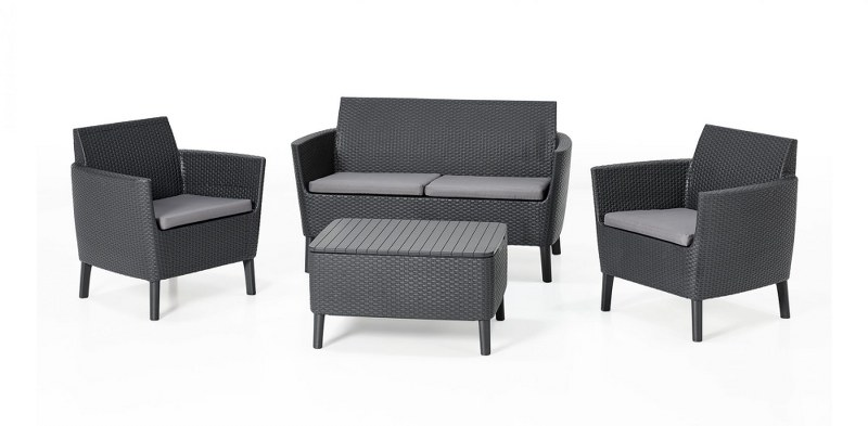 Σετ Κήπου 4τμχ Salemo Allibert Lounge Set – Allibert – salemo-lounge-set-graphite