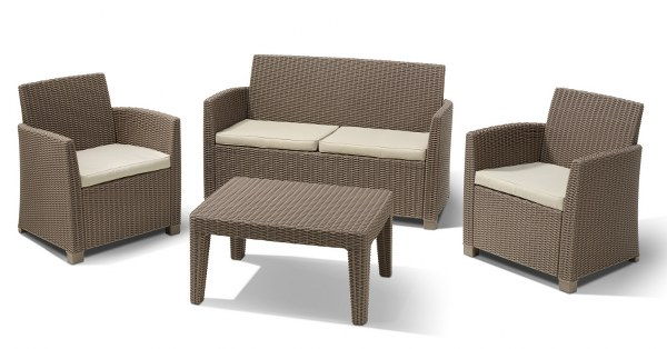 Σετ Κήπου 4τμχ Wicker Corona Lounge Set Cappuccino - Allibert - corona-lounge-set-cappuccino