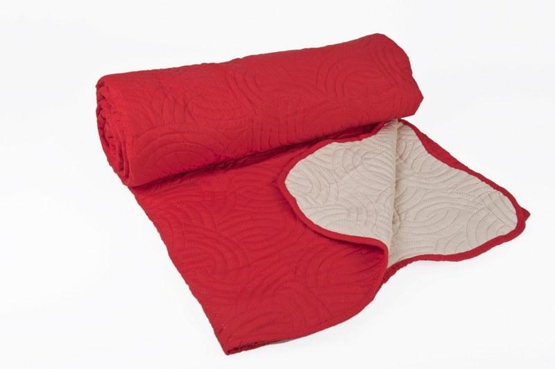 Κουβερλί Ultra Sonic Κόκκινο - Εκρού Μονό - OEM - k-4 λευκα ειδη υπνοδωμάτιο κουβερλί μονά   ημίδιπλα