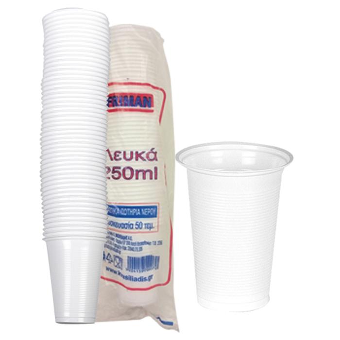 ΣΕΤ 50 Ποτήρια Μιας Χρήσεως Λευκά – OEM – 80.31