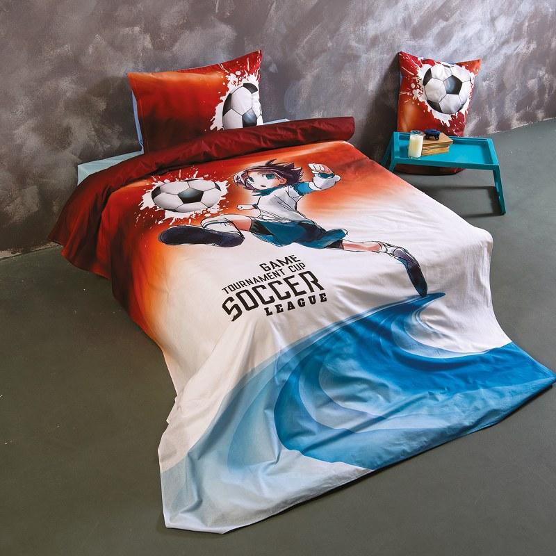 Σετ Σεντόνια Βαμβακερά Μονά 160x260εκ. Soccer SB HOME (Ύφασμα: Βαμβάκι 100%, Χρώμα: Μπλε) - Sb home - 5206864063655