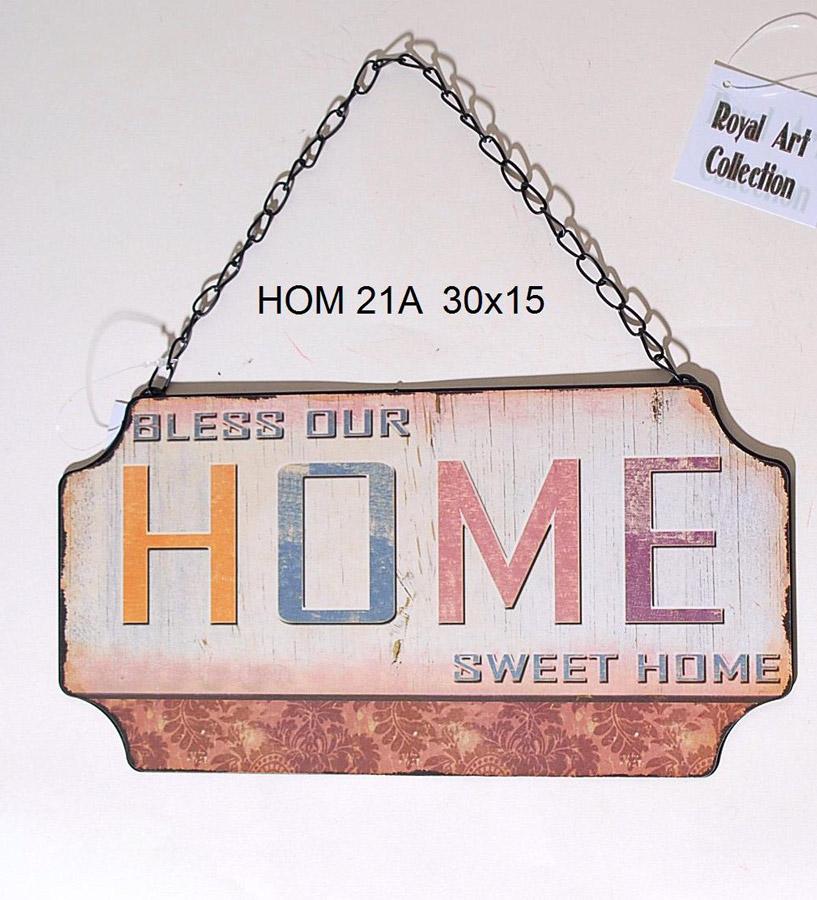 """Ταμπέλα """"HOME"""" Μεταλλική Royal Art 30×15εκ. HOM21A (Υλικό: Μεταλλικό) – Royal Art Collection – HOM21A"""