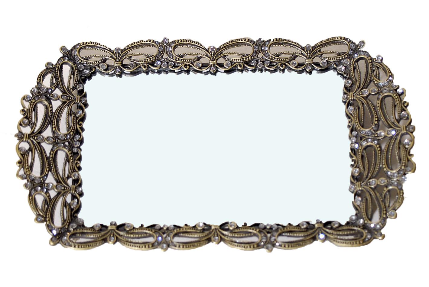 Δίσκος Σερβιρίσματος Με Καθρέπτη Μεταλλικός Royal Art 14×22εκ. GRA7/18790 (Υλικό: Μεταλλικό) – Royal Art Collection – GRA7/18790