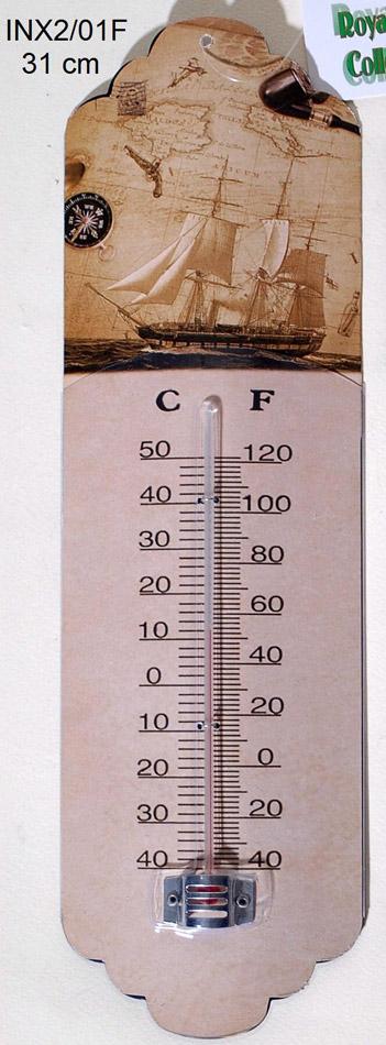 Θερμόμετρο Τοίχου Μεταλλικό Vintage Royal Art 31εκ. INX2/01F (Υλικό: Μεταλλικό) – Royal Art Collection – INX2/01F